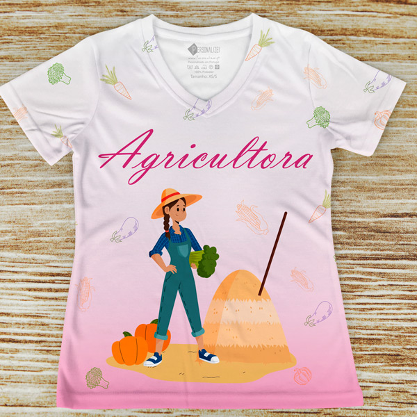T-shirt Agricultora profissão/curso rosa