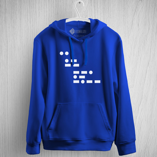 Sweatshirt com capuz I am gay em Código Morse azul