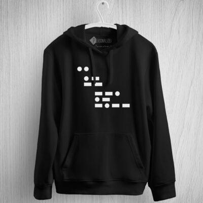 Sweatshirt com capuz I am gay em Código Morse