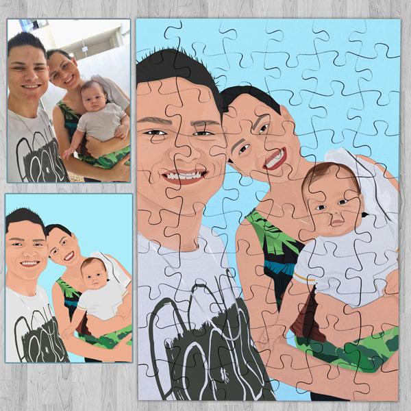 Puzzle personalizado com foto Ilustrada família