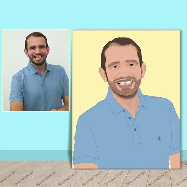 Sua foto em cartoon desenho no quadro ou t-shirt para presente personalizado