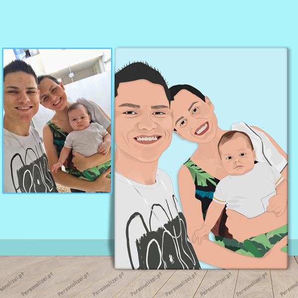 Sua foto em cartoon desenho no quadro ou t-shirt família