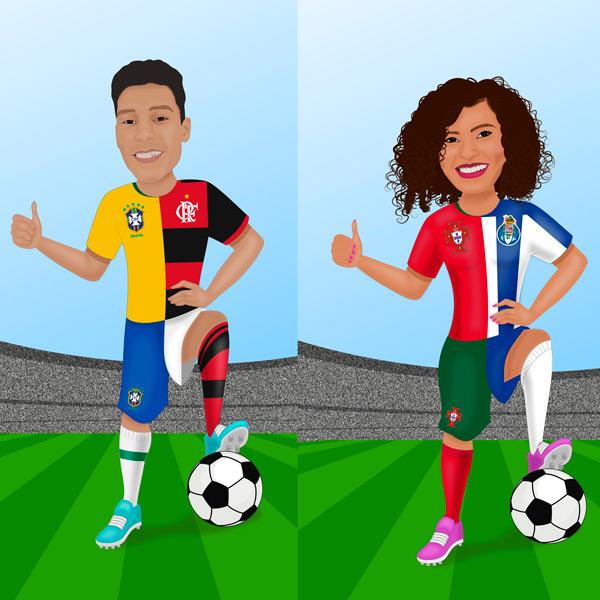 Ilustração com seu clube e seleção de futebol em Quadro ou JPG comprar