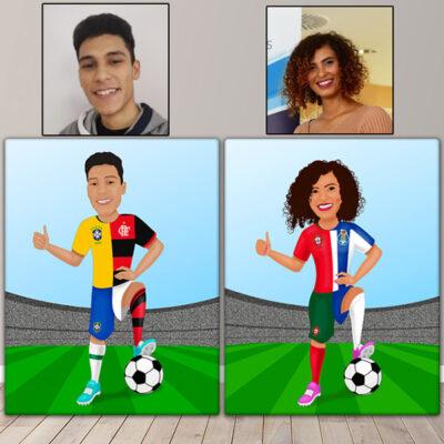 Ilustração com seu clube e seleção de futebol em Quadro ou JPG