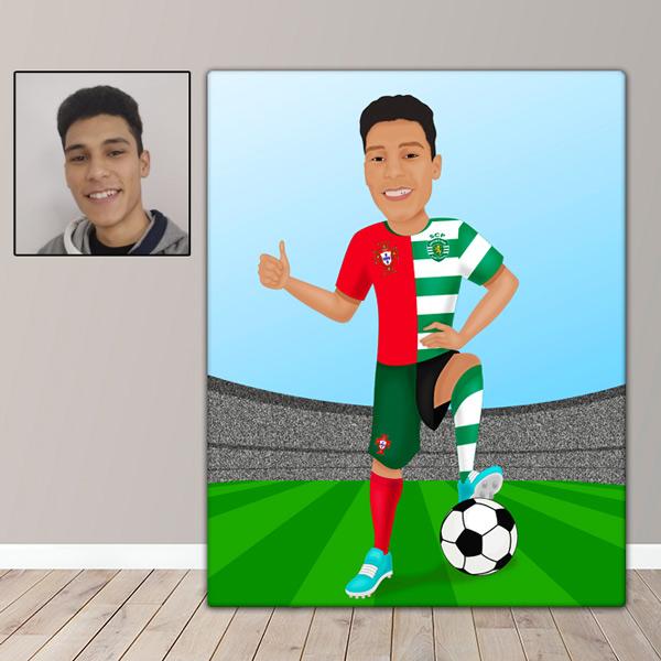 Ilustração com seu clube e seleção de futebol em Quadro ou JPG jogador de futebol