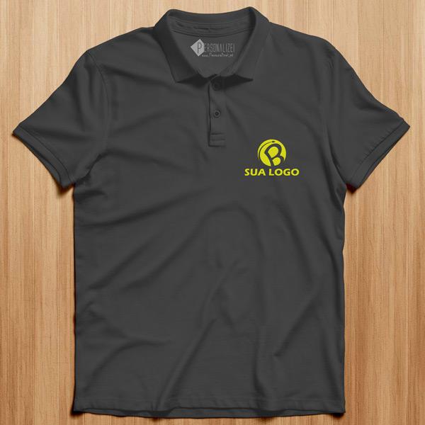 Polo personalizado com logo bordado ou vinil flex cinzento