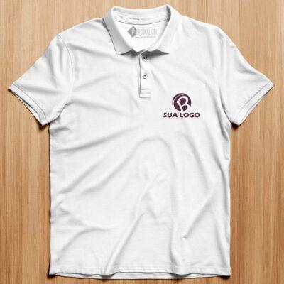 Polo personalizado com logo bordado ou vinil flex branco