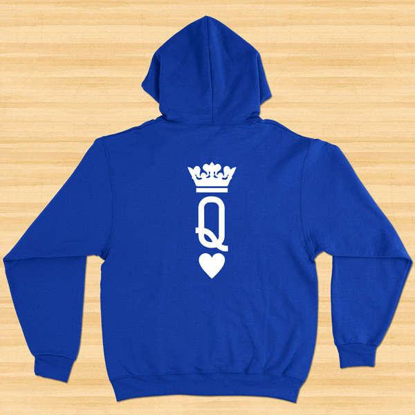 Sweatshirt com capuz King e Queen conjunto namorados