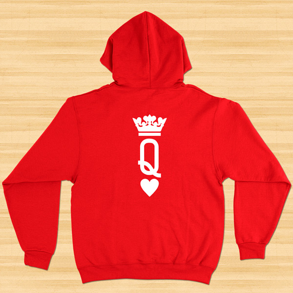 Sweatshirt com capuz King e Queen conjunto namorados vermelho