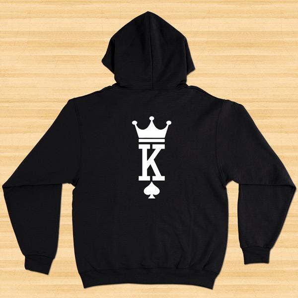 Sweatshirt com capuz King e Queen conjunto namorados costas