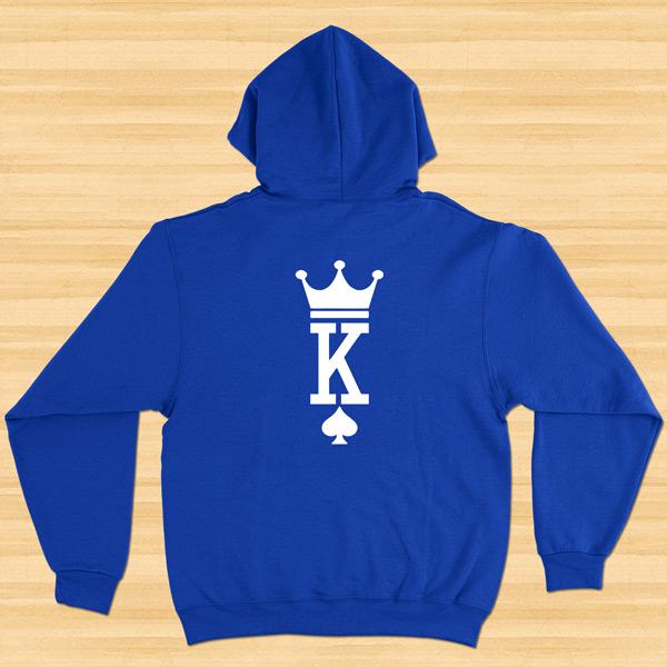 Sweatshirt com capuz King e Queen conjunto namorados azul