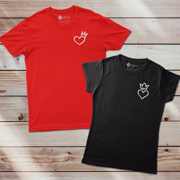 T-shirt Coração Rei e Rainha homem e mulher