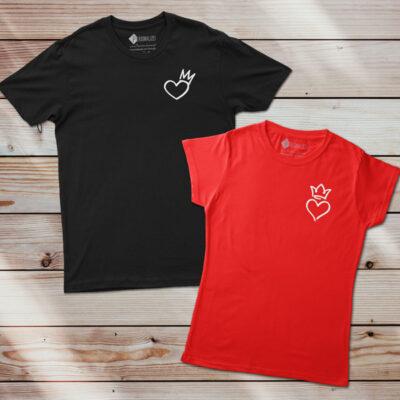 T-shirt Coração Rei e Rainha preta e vermelha