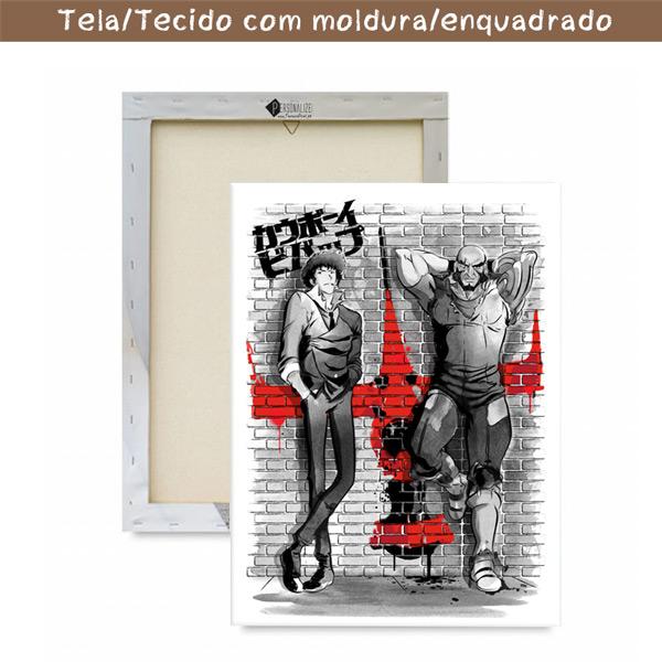 Cowboy Bebop Quadro/Tela Spike Spiegel e Jet Black com moldura