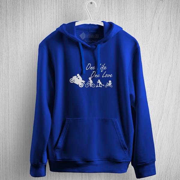 One Life One Love Moto Motocycle Sweatshirt com capuz azul