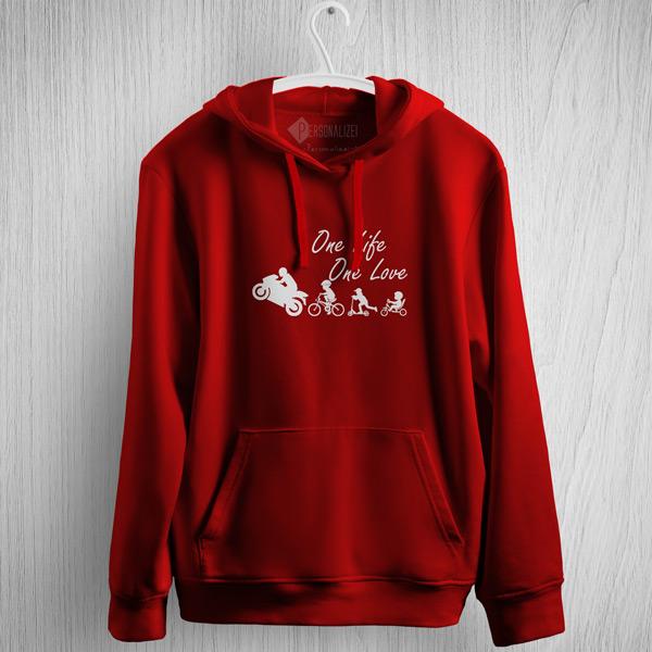 One Life One Love Moto Motocycle Sweatshirt com capuz vermelho
