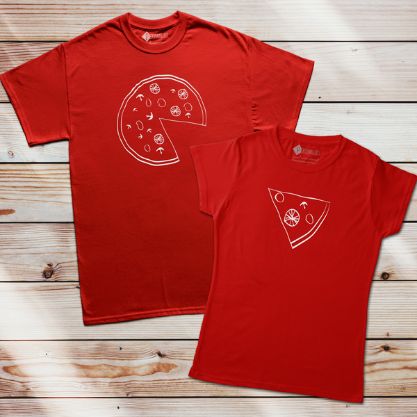 T-shirts Pizza Lovers vermelhas