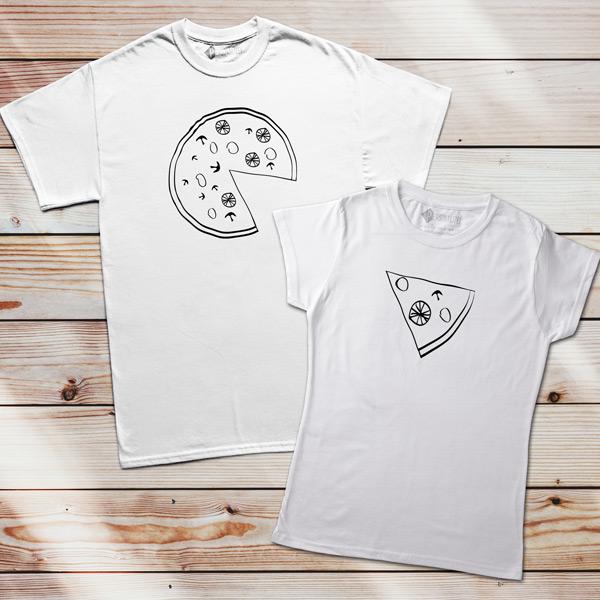 T-shirts Pizza Lovers brancas