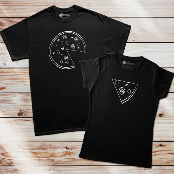 T-shirts Pizza Lovers pretas