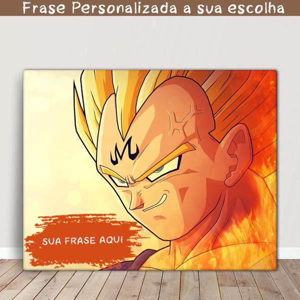 Vegeta Quadro/Tela Dragon Ball Z Personalizado com sua frase