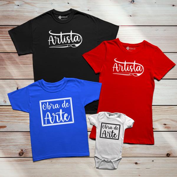 T-shirt Artista e Obra de Arte Pai filho(a) Mãe e filho(a) em várias cores