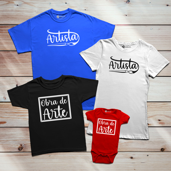 T-shirt Artista e Obra de Arte Pai filho(a) Mãe e filho(a) para família