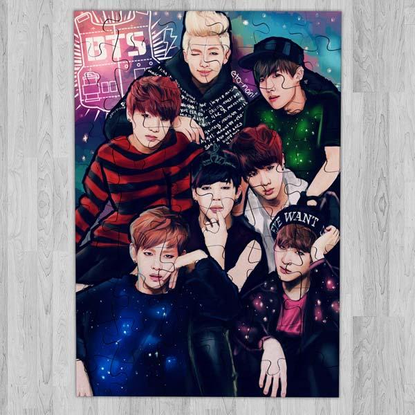 Puzzle BTS Bangtan Boys de madeira ou cartão banda bts