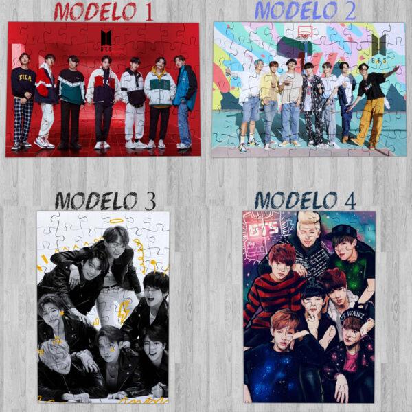Puzzle BTS Bangtan Boys de madeira ou cartão em vários modelos