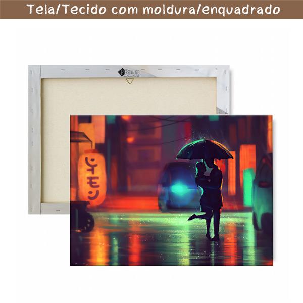 Quadro/Tela Casal no chuva com moldura