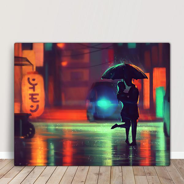 Quadro/Tela Casal no chuva comprar