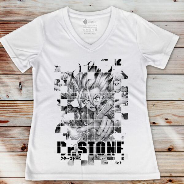 T-shirt Dr. Stone em preto e branco feminina