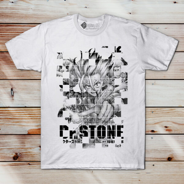 T-shirt Dr. Stone em preto e branco camiseta