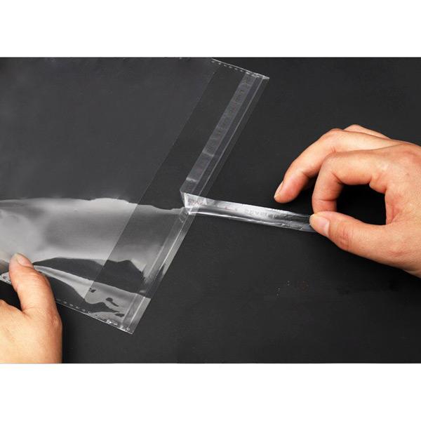 Sacos para embalar transparente com adesivo e furo para roupas