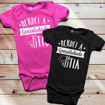 Herdei a genialidade da(o) titia(o) Body bebé tia e tio