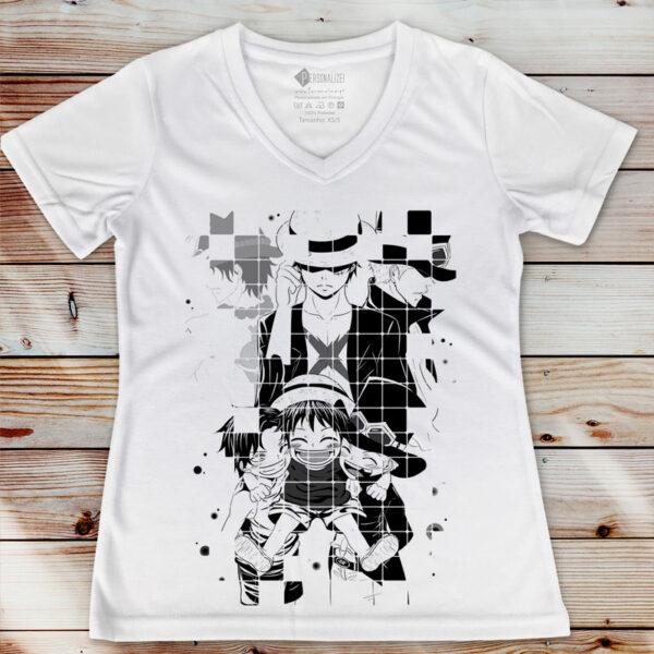 Luffy Sabo e Ace T-shirt One Piece feminina