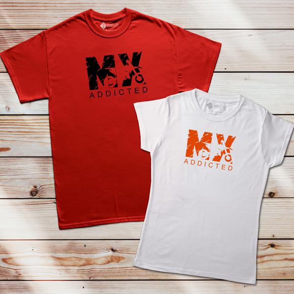 T-shirt Motocross Addicted MX vermelha e branca
