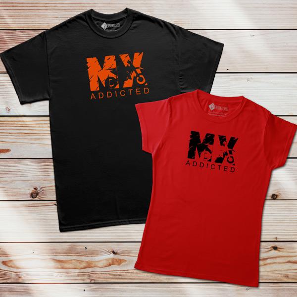 T-shirt Motocross Addicted MX preta e vermelha
