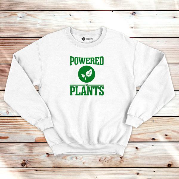 Powered By Plants Sweatshirt unisex blusa branca