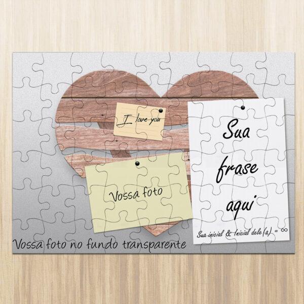 Puzzle personalizado namorados foto frase iniciais quebra cabeça