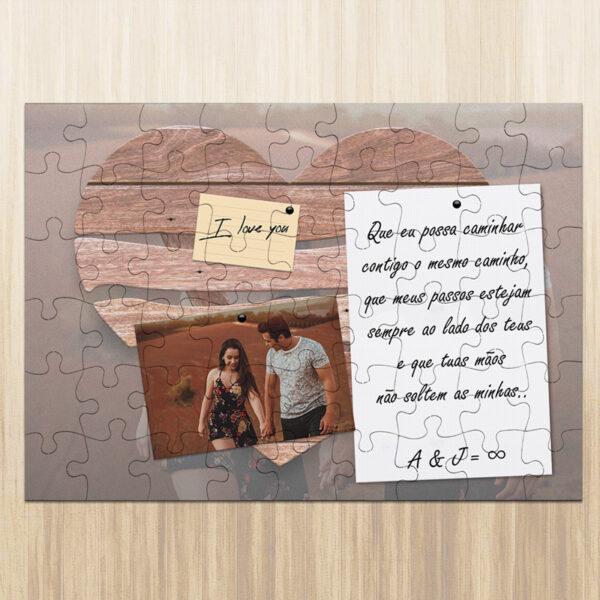 Puzzle personalizado namorados foto frase iniciais personalizar