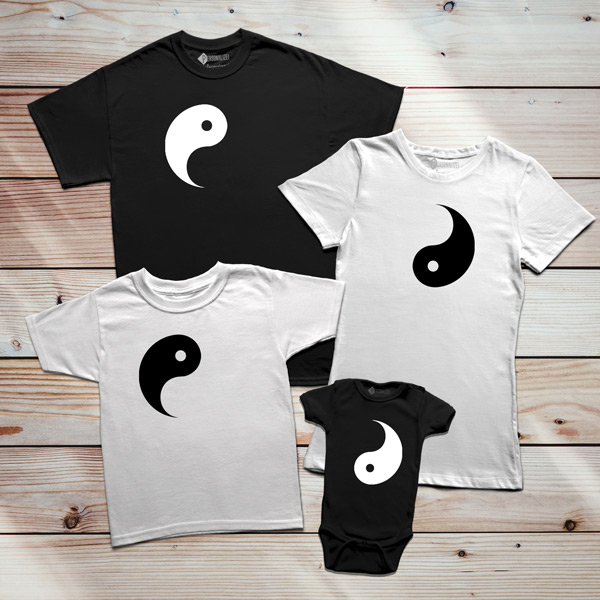 T-shirts Yin Yang conjunto família