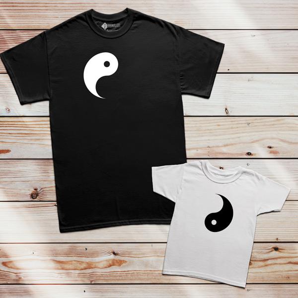 T-shirts Yin Yang conjunto pais e filhos
