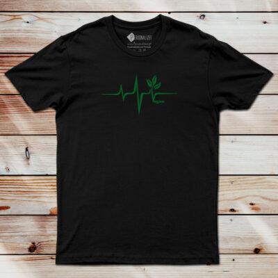 T-shirt Vegan heartbeat preta
