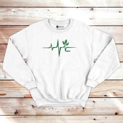 Vegan heartbeat Sweatshirt unisex branco