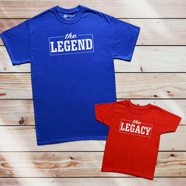 T-shirt The Legend The Legacy Pai filho(a) Mãe e filha(o)
