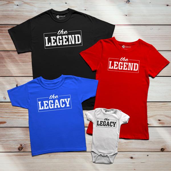T-shirt The Legend The Legacy Pai filho(a) Mãe e filha(o) conjunto família personalizado