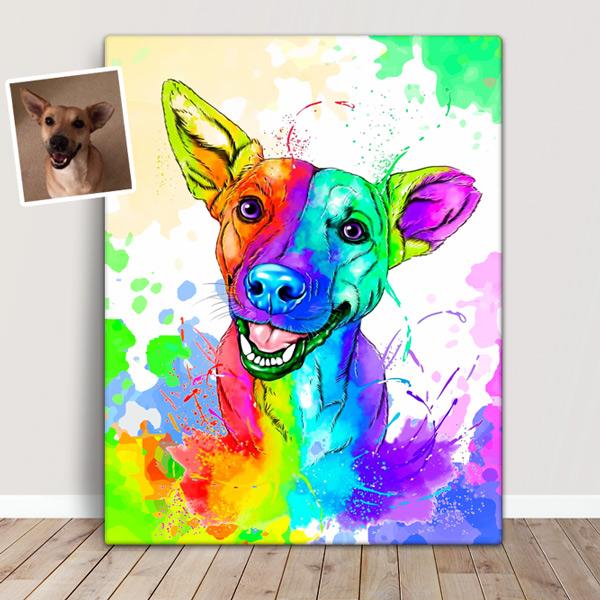 Sua foto em Ilustração colorida estilo aquarela cão