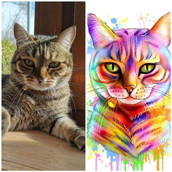 Sua foto em Ilustração colorida estilo aquarela gato