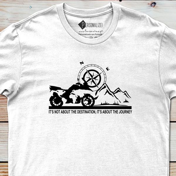 T-shirt BMW GS fãs moto It's not about the destination... personalizada