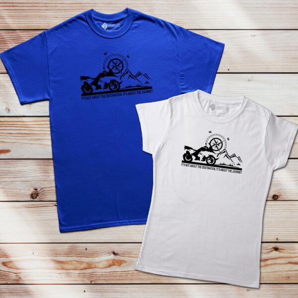 T-shirt BMW GS fãs moto It's not about the destination... azul e branca